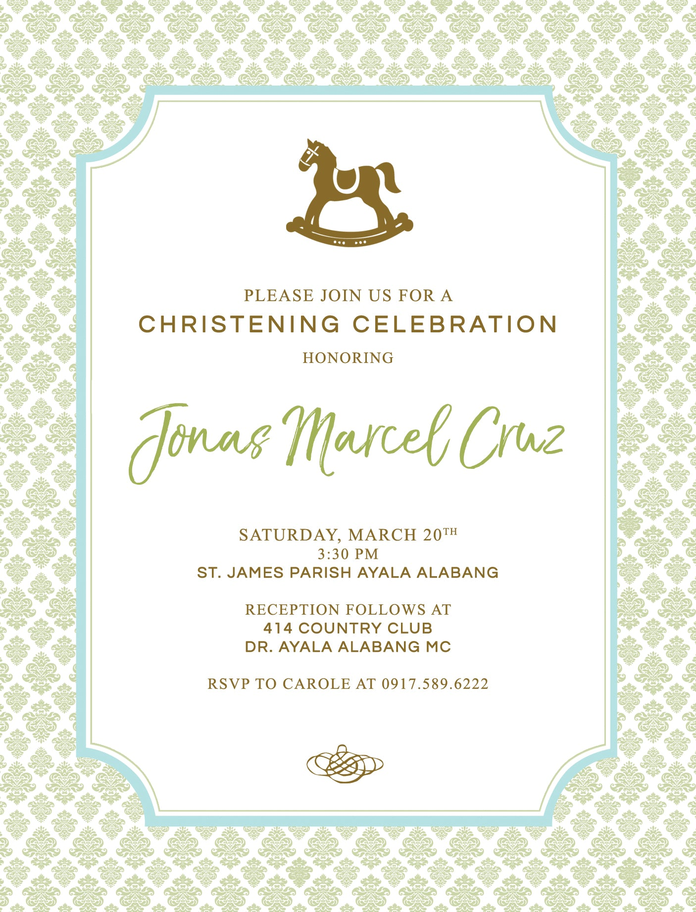 Marcel Christening Invitation