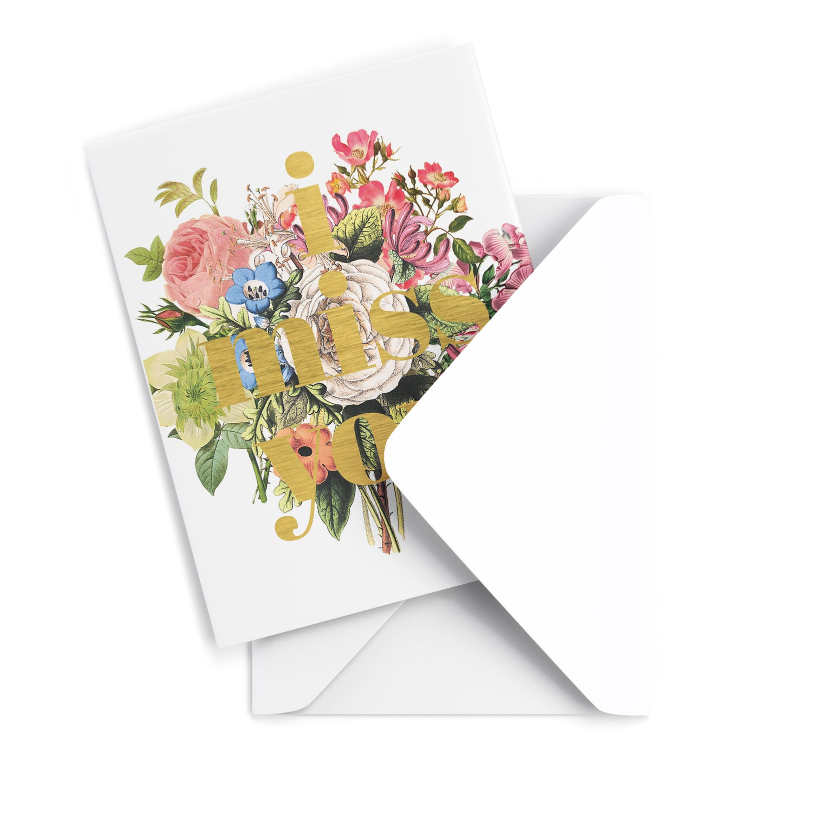 Floral I Miss You Greeting Card