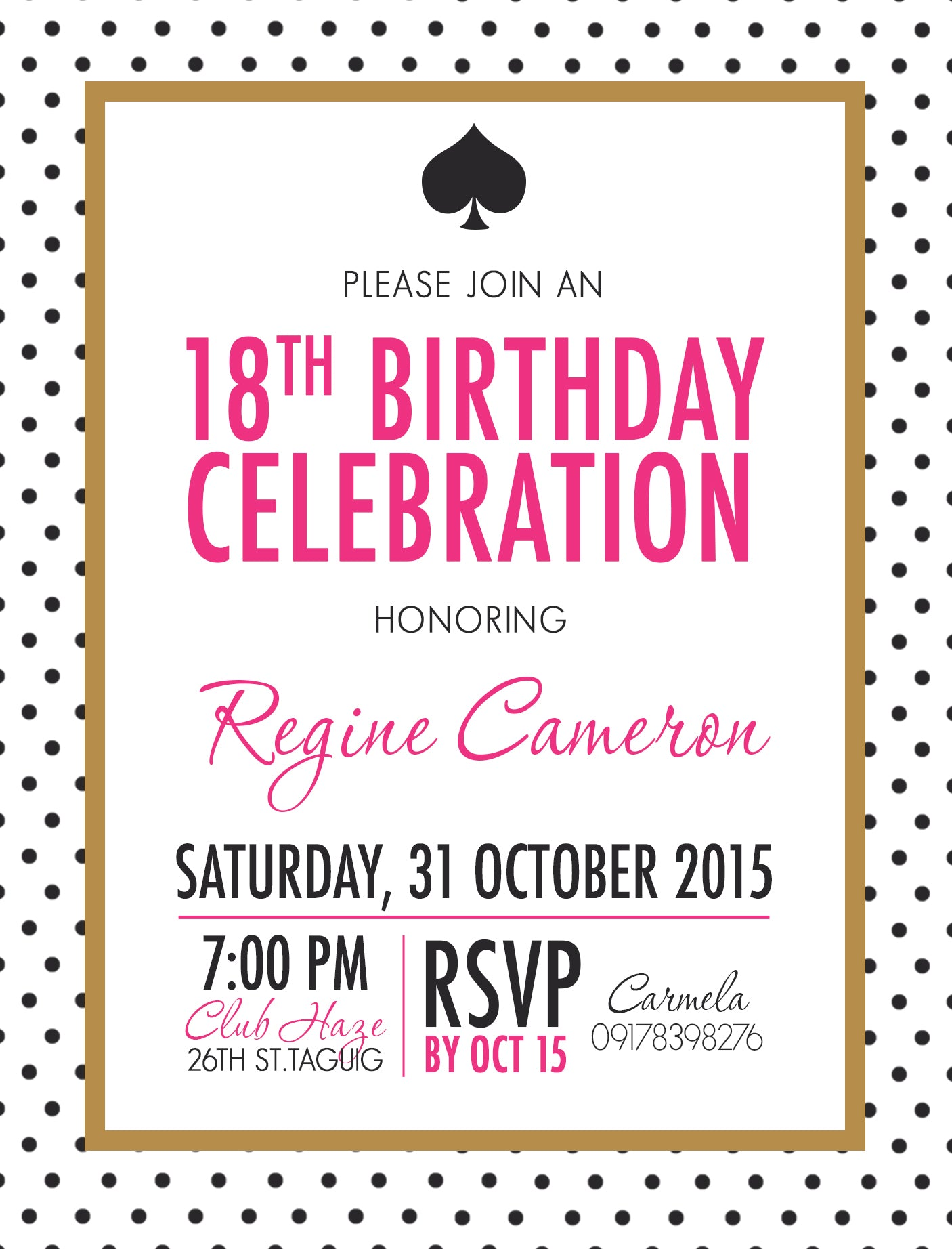 Regine Debut Invitation
