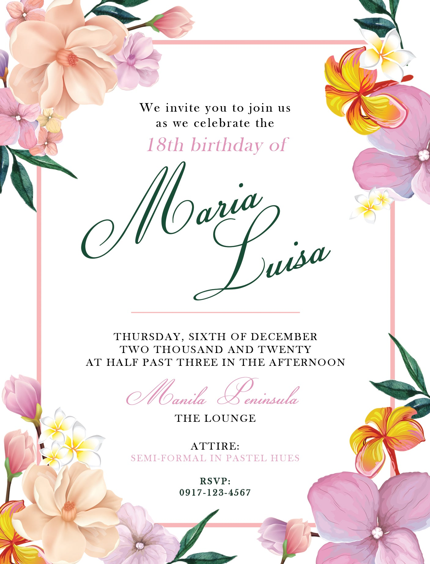 Luisa Debut Invitation