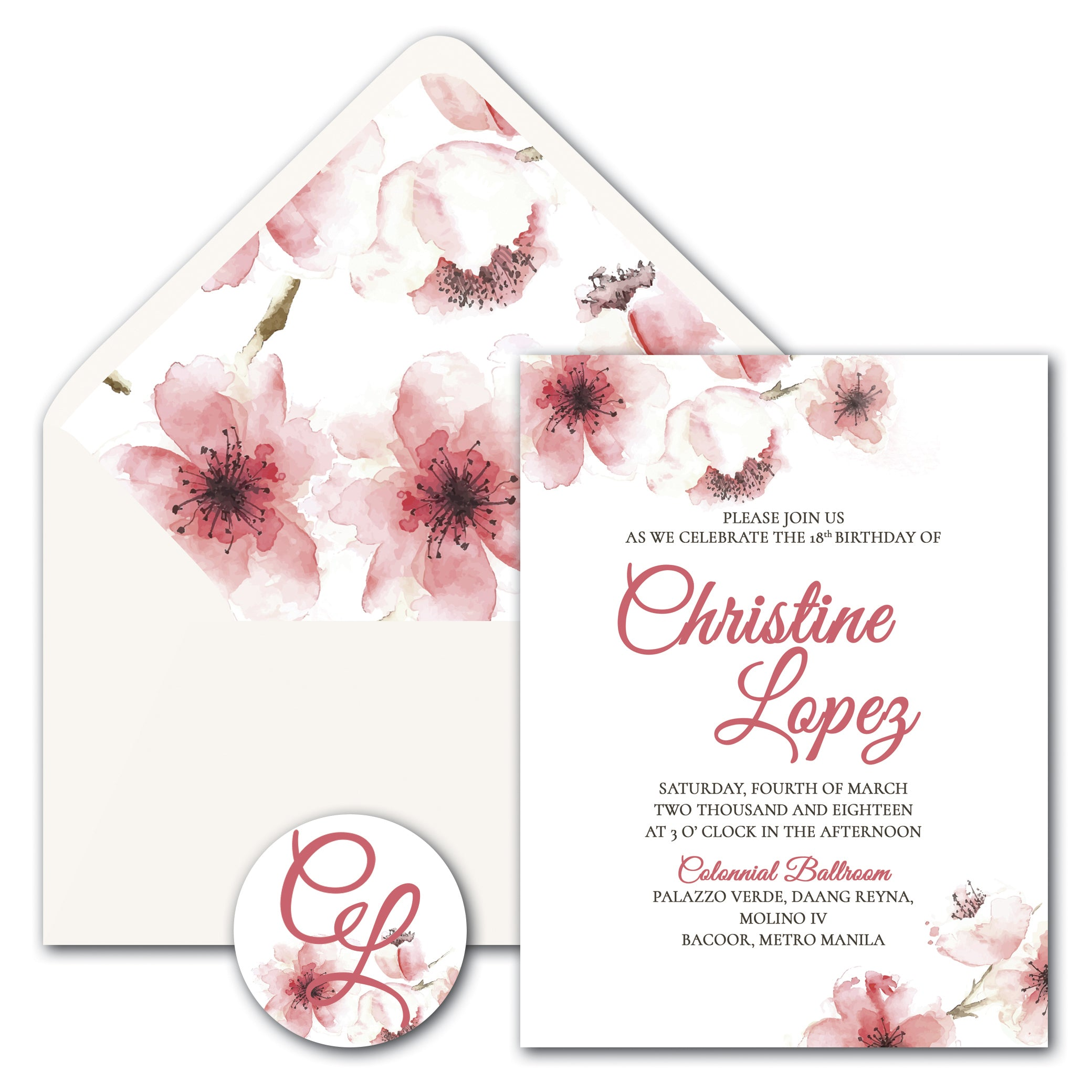 Christine Debut Invitation