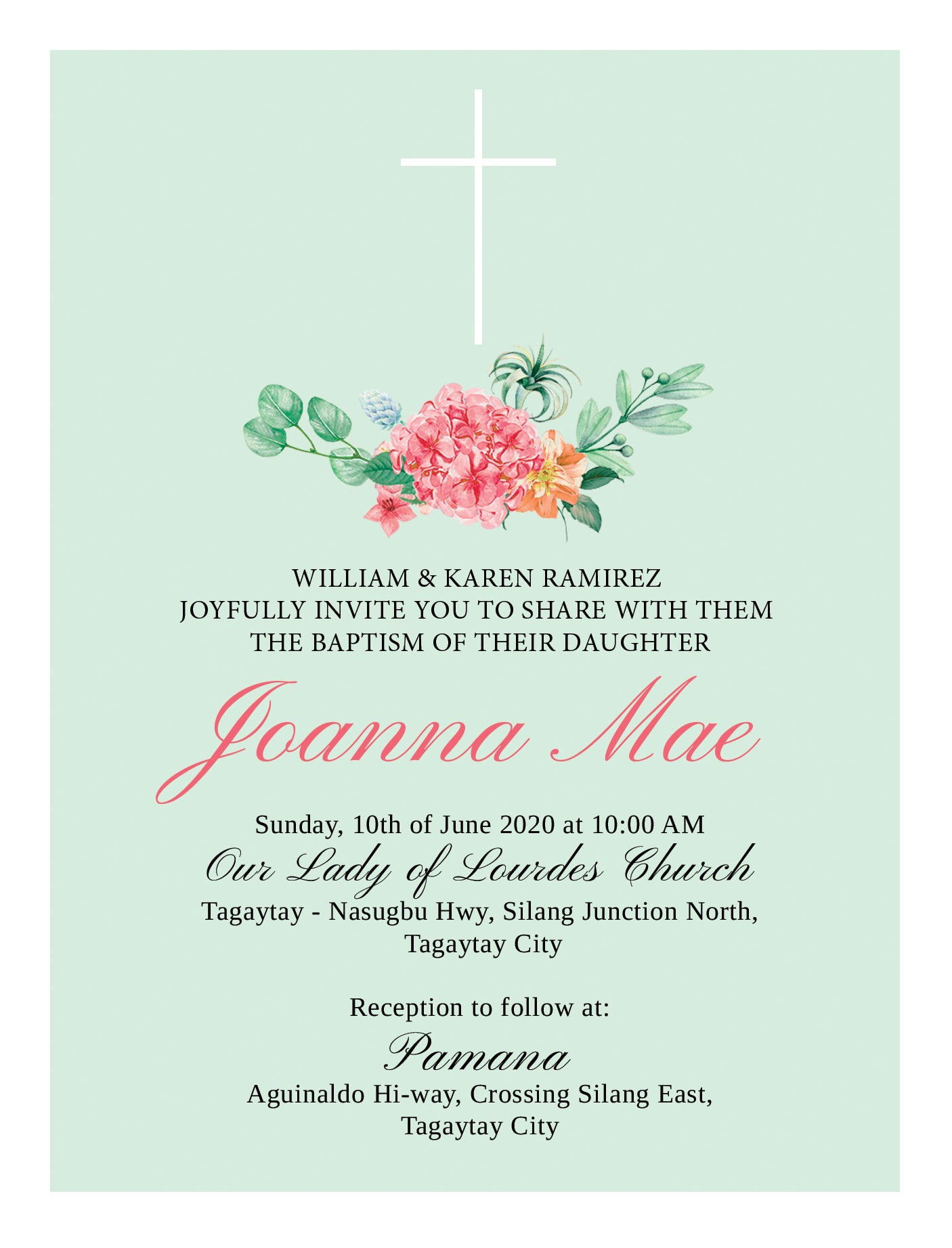 Joanna Christening Invitation
