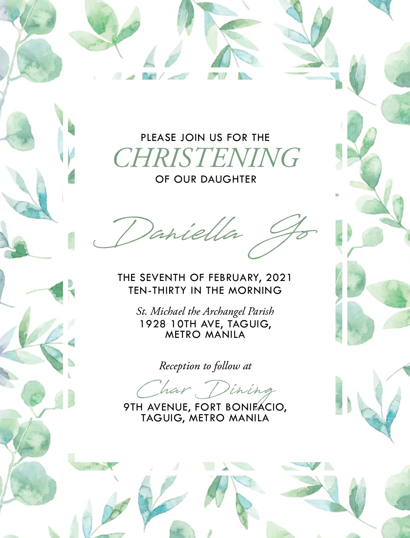 Daniella Christening Invitation