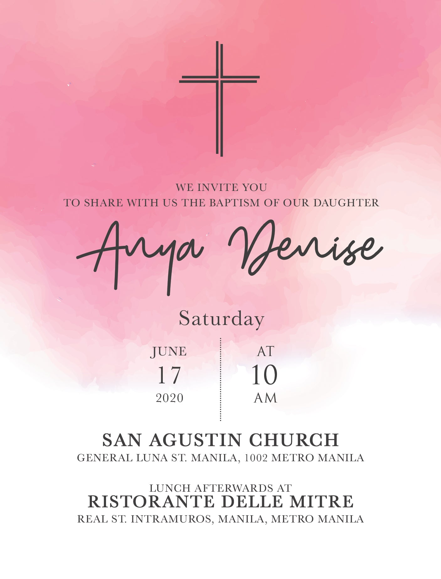 Anya Christening Invitation