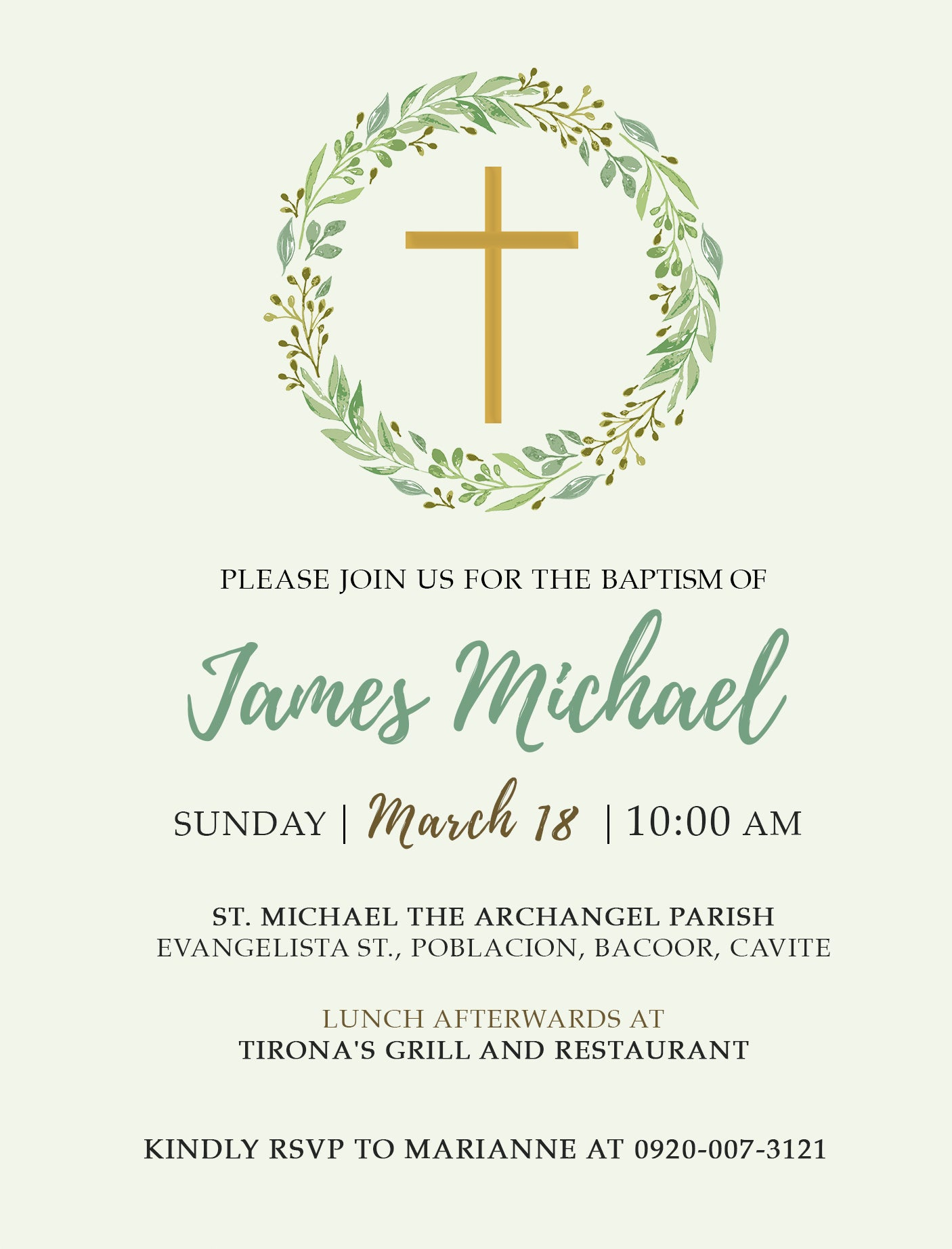 James Christening Invitation