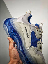 Load image into Gallery viewer, Triple S - White Blue Clear Sole