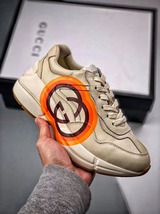 Rhyton logo leather sneaker - Orange Liner