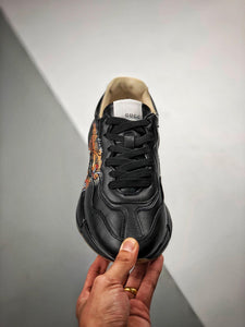 Rhyton logo leather sneaker -  Black Lion
