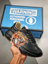 Load image into Gallery viewer, Rhyton logo leather sneaker -  Black Lion