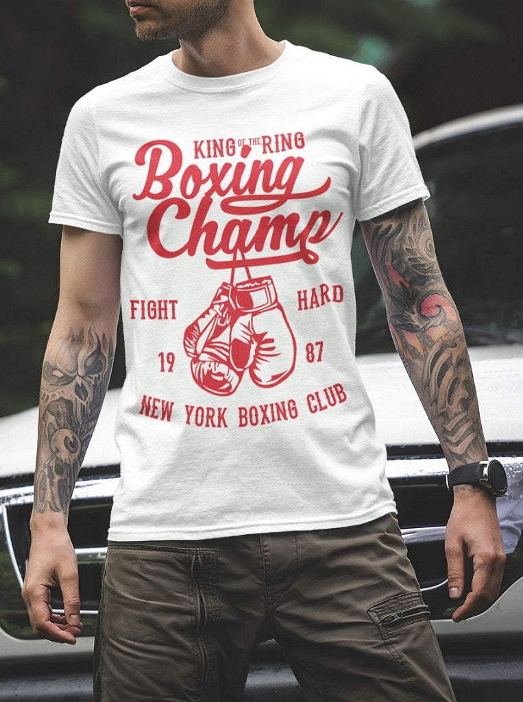 T-Shirt Herren Boxing Club Fight Hard NewYork Boxing