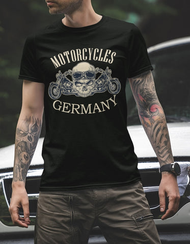 T-Shirt Herren Motorcycles Germany MC Motorrad 1% EK Skull Club