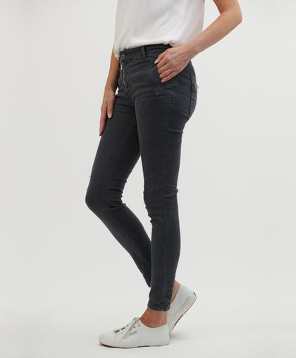 Button Jean - Charcoal