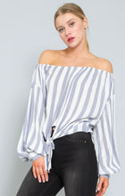 Load image into Gallery viewer, Blue & White Stripe Off the Shoulder Top