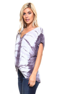 Gray Knotted Tie Dye Top