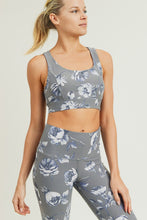Load image into Gallery viewer, Grey Roses Sports Bra