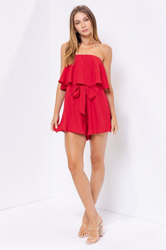 Red Strapless ruffled romper