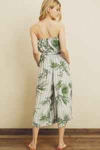Tropical striped strapless jumpsuit