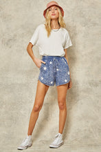 Load image into Gallery viewer, Blue washed star print pocket shorts