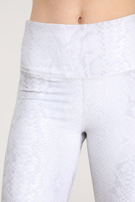 Grey Snakeskin Biker Shorts