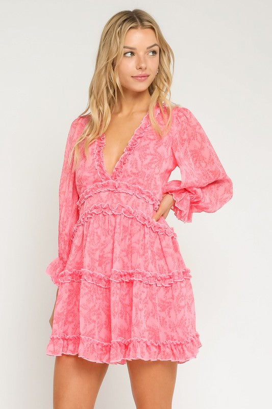 Pink Floral Ruffled Open Back Dress