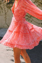 Load image into Gallery viewer, Pink Floral Ruffled Open Back Dress