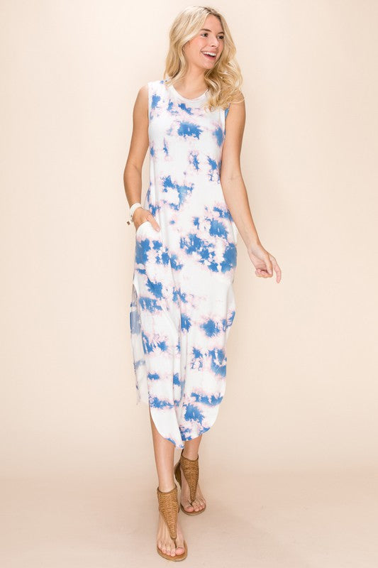 White/Pink Tie Dye Tee Maxi Dress
