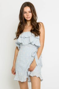 Blue Eyelet Wrap Ruffle Dress