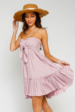 Load image into Gallery viewer, Dusk Pink Strapless Tie front Dress