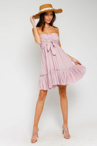Dusk Pink Strapless Tie front Dress