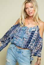 Load image into Gallery viewer, Navy Tie Dye Bell sleeve Top