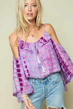 Load image into Gallery viewer, Lavender Tie Dye Bell sleeve Top