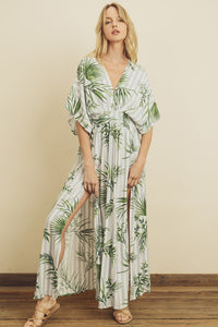 Tropical Front Slit Maxi Dress