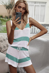 Turquoise Striped Two piece set