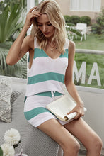 Load image into Gallery viewer, Turquoise Striped Two piece set