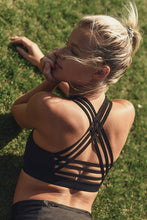 Load image into Gallery viewer, Black Strappy Sports Bra