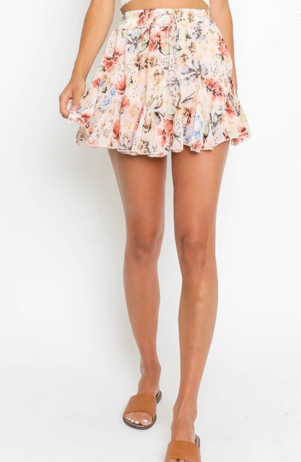 Pink floral ruffled Skirt