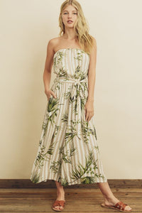 Tropical Stripe Tube Jumpsuit
