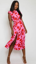 Load image into Gallery viewer, Pink Floral Midi Dress