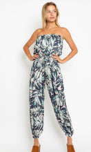 Load image into Gallery viewer, Teal Palm strapless jumpsuit
