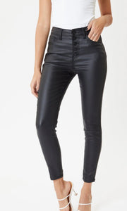 High Rise Leather Ankle Skinny