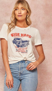 Race car distressed tee