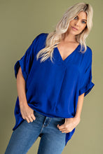 Load image into Gallery viewer, Royal Blue V-Neck High Low Top