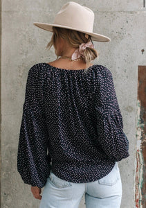 Dot print Peasant Top