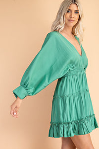 Kelly Green Balloon Sleeve Flowy Dress