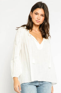 Gauze Crochet Trim Blouse