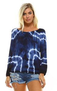 Navy Tie Dye Off the Shoulder Top