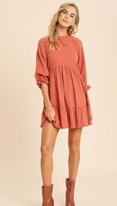Ruffled Mock Neck Babydoll Dress
