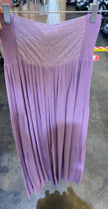 Lavender Embroidery Waist Tiered Pants