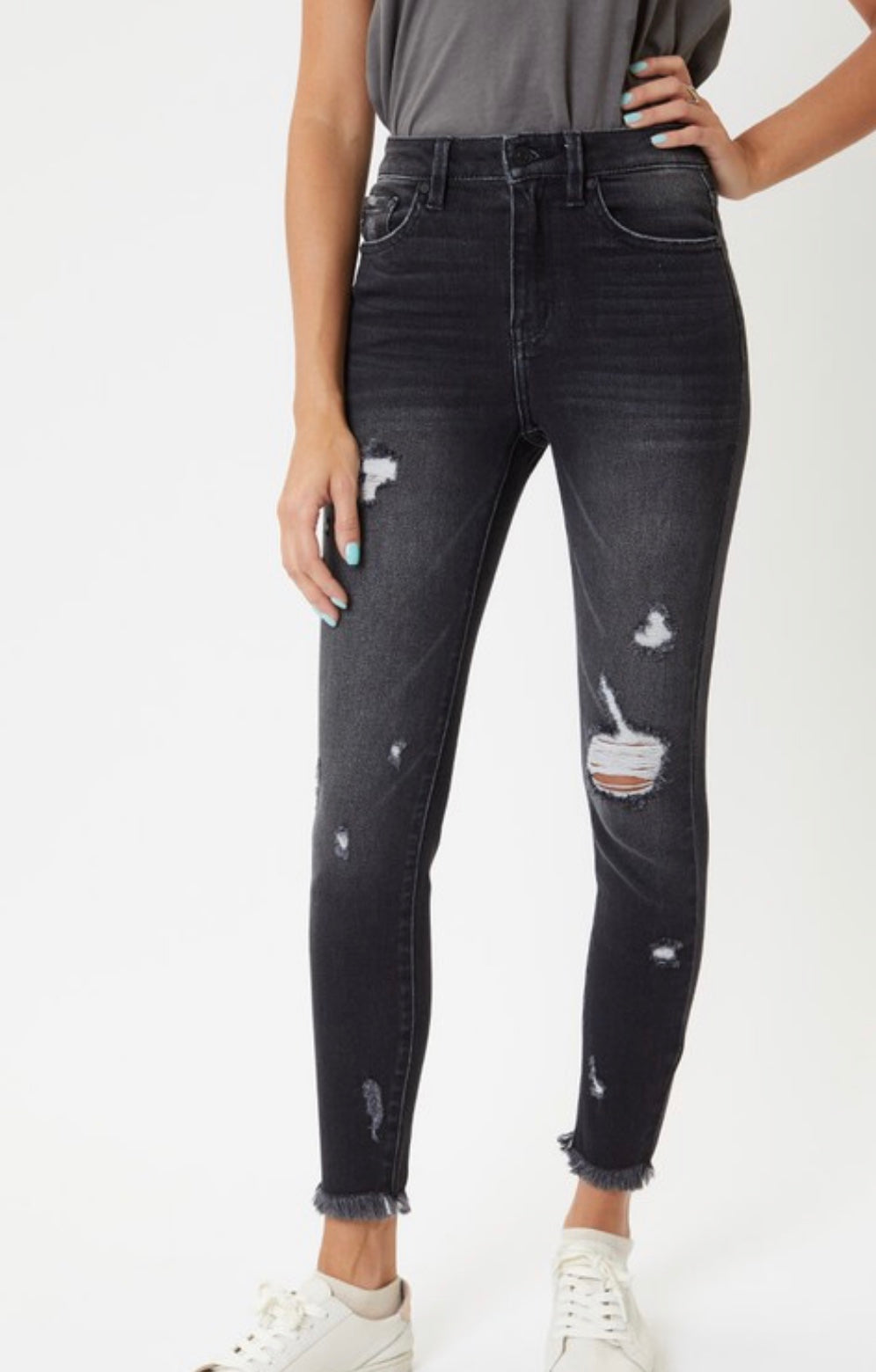 Black High Rise Distressed Ankle Skinny Jeans