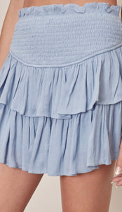 Misty denim ruffle skirt